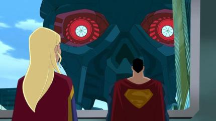 Supergirl and Superman Confront Brainiac's Ship in SUPERMAN UNBOUND, courtesy Warner Home Video, 2013