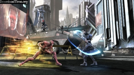 The Flash fights Nightwing in Superman's Other Earth, in INJUSTICE, courtesy Warner Interactive, 2013