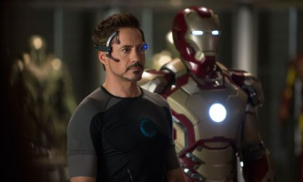 Tony Stark (Robert Downey Jr.) tests out remote usage of the armor in IRON MAN 3, courtesy Marvel/Disney, 2013