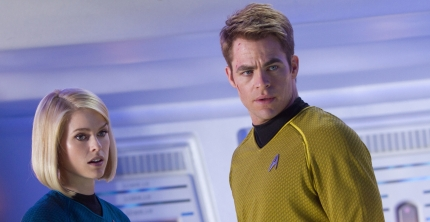 Carol Marcus (Alice Eve) and James T. Kirk (Chris Pine) in STAR TREK INTO DARKNESS, courtesy Paramount Pictures, 2013