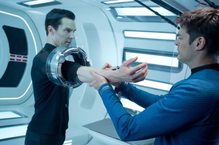 John Harrison (Benedict Cumberbatch) submits to a blood test at the hands of Doctor McCoy (Karl Urban) in STAR TREK INTO DARKNESS, courtesy Paramount Pictures, 2013