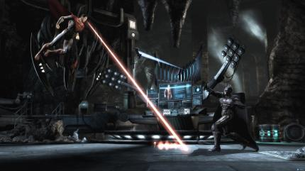 Screenshot of a fight between Superman and Batman during Multi-Player Mode, in INJUSTICE, courtesy Warner Interactive, 2013