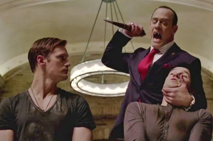 Roman (Christopher Meloni) threatens Bill (Stephen Moyer) and Eric (Alexander Skarsgard) in TRUE BLOOD, courtesy HBO, 2013